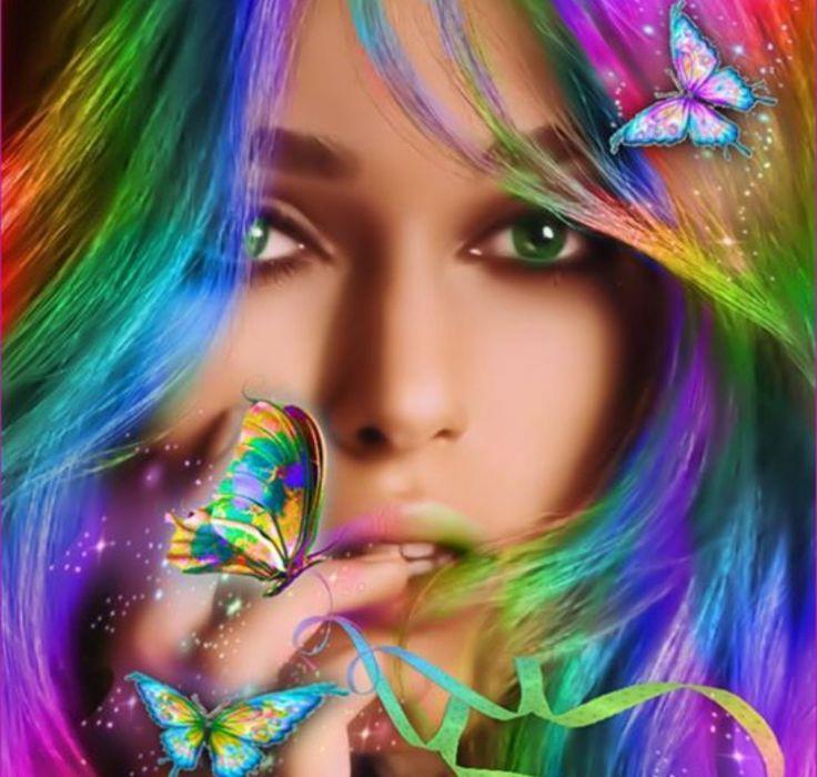 hair beautiful butterflies girl colorful wallpaper