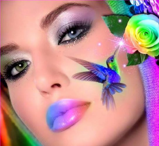 hair beautiful butterflies girl colorful wallpaper