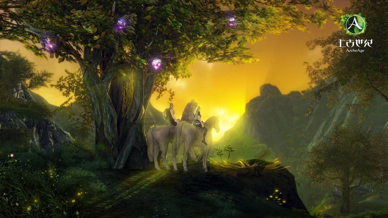 ARCHEAGE fantasy mmo rpg sandbox adventure online sunset horse warrior wallpaper