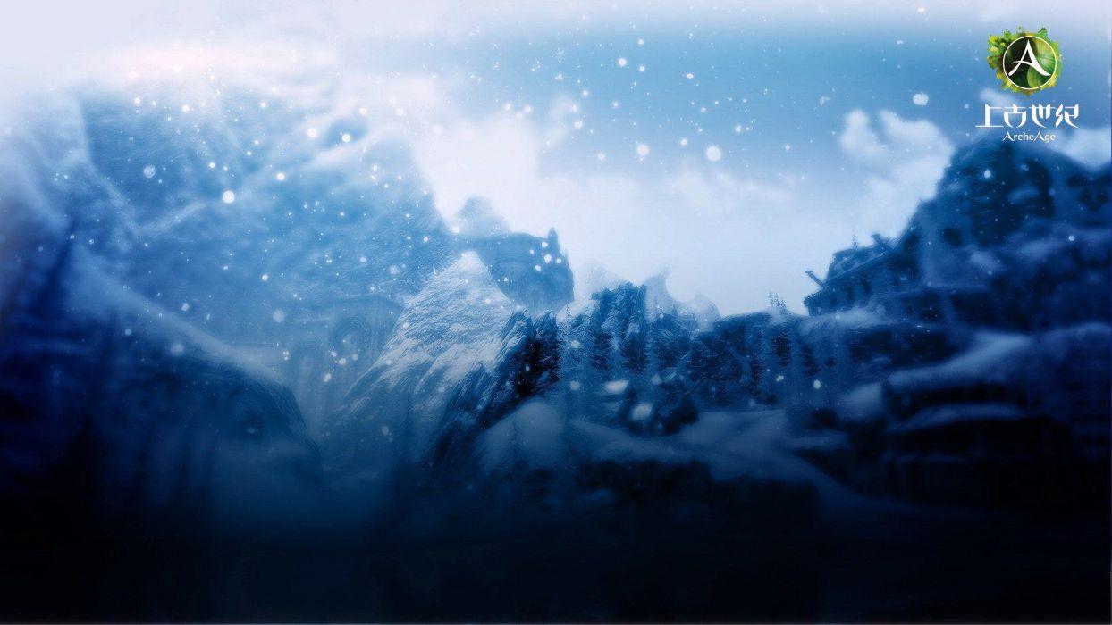 ARCHEAGE fantasy mmo rpg sandbox adventure online mountain winter snow flakes wallpaper