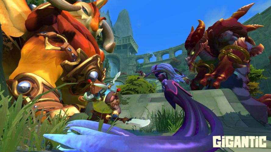 GIGANTIC action fighting warrior fantasy online moba mmo rpg wallpaper