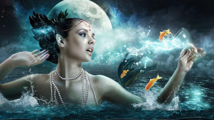 woman sea fish gold fantasy wallpaper