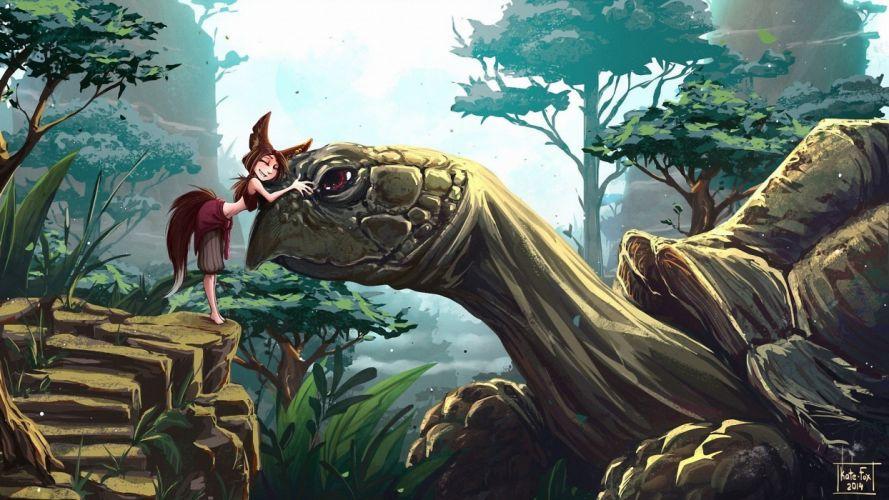 fox girl turtle fantasy wallpaper
