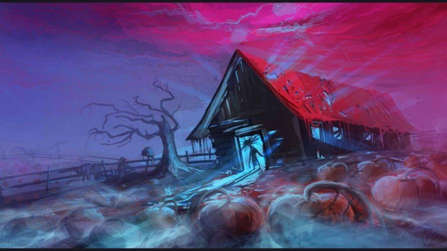 house fantasy blue dark wallpaper