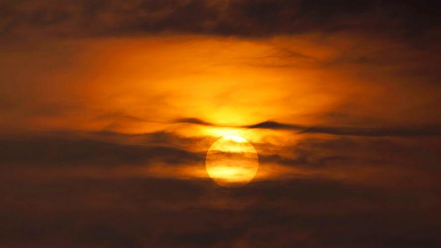 sun clouds sky orange wallpaper