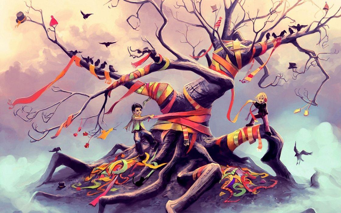 tree girl fantasy beautiful wallpaper