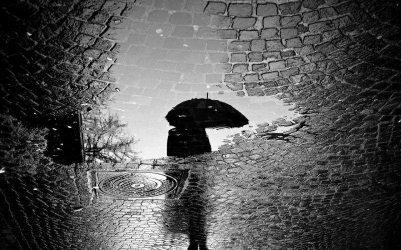 rain dark umbrella wallpaper