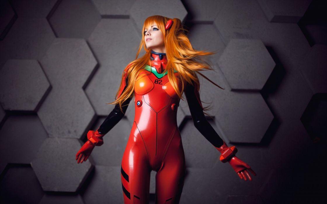 cyborg girl orange red wallpaper