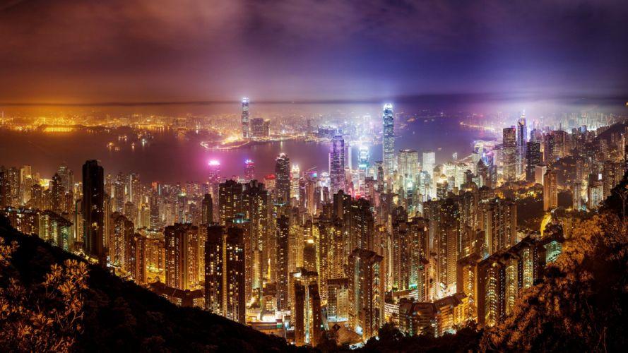 town city cityscape night light wallpaper