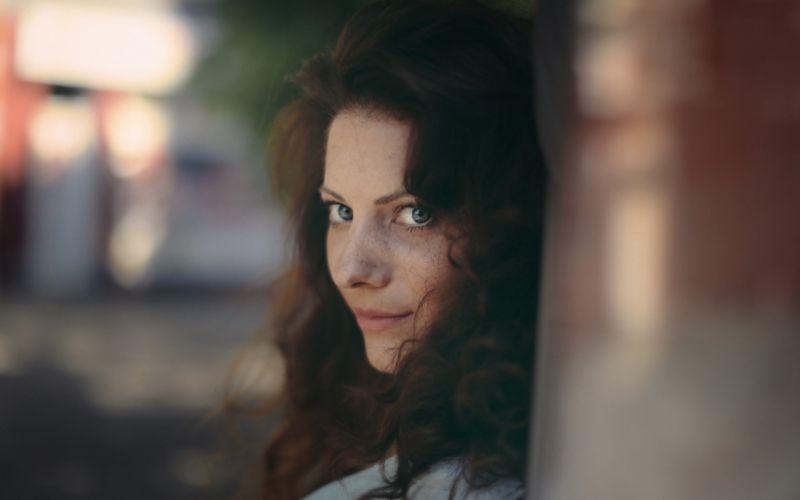 redhead girl sweet smile look wallpaper