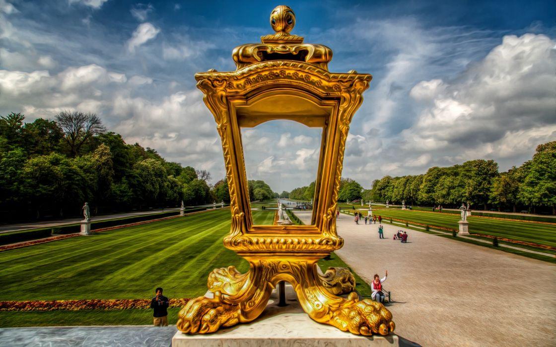 arhitecture gold garden wallpaper