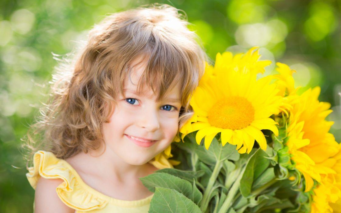 girl smile flowers wallpaper