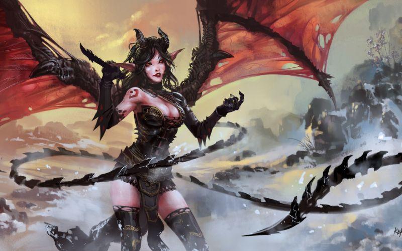 devil girl dark fantasy wallpaper
