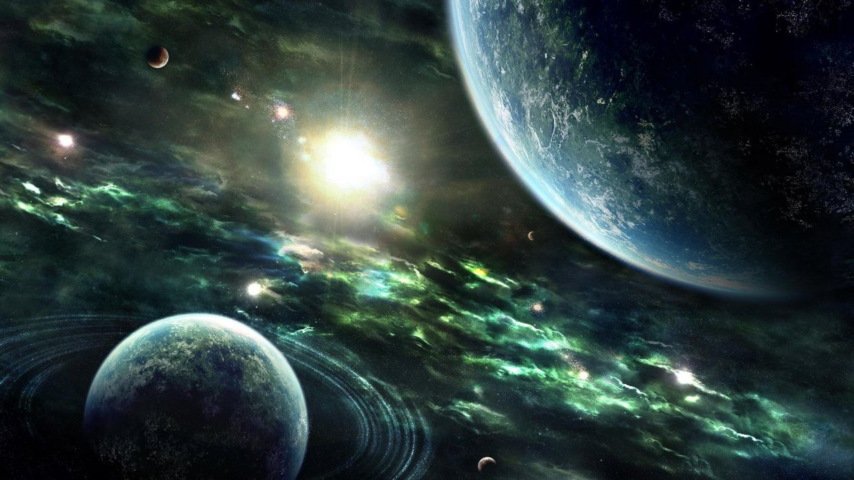 space vue two planets wallpaper