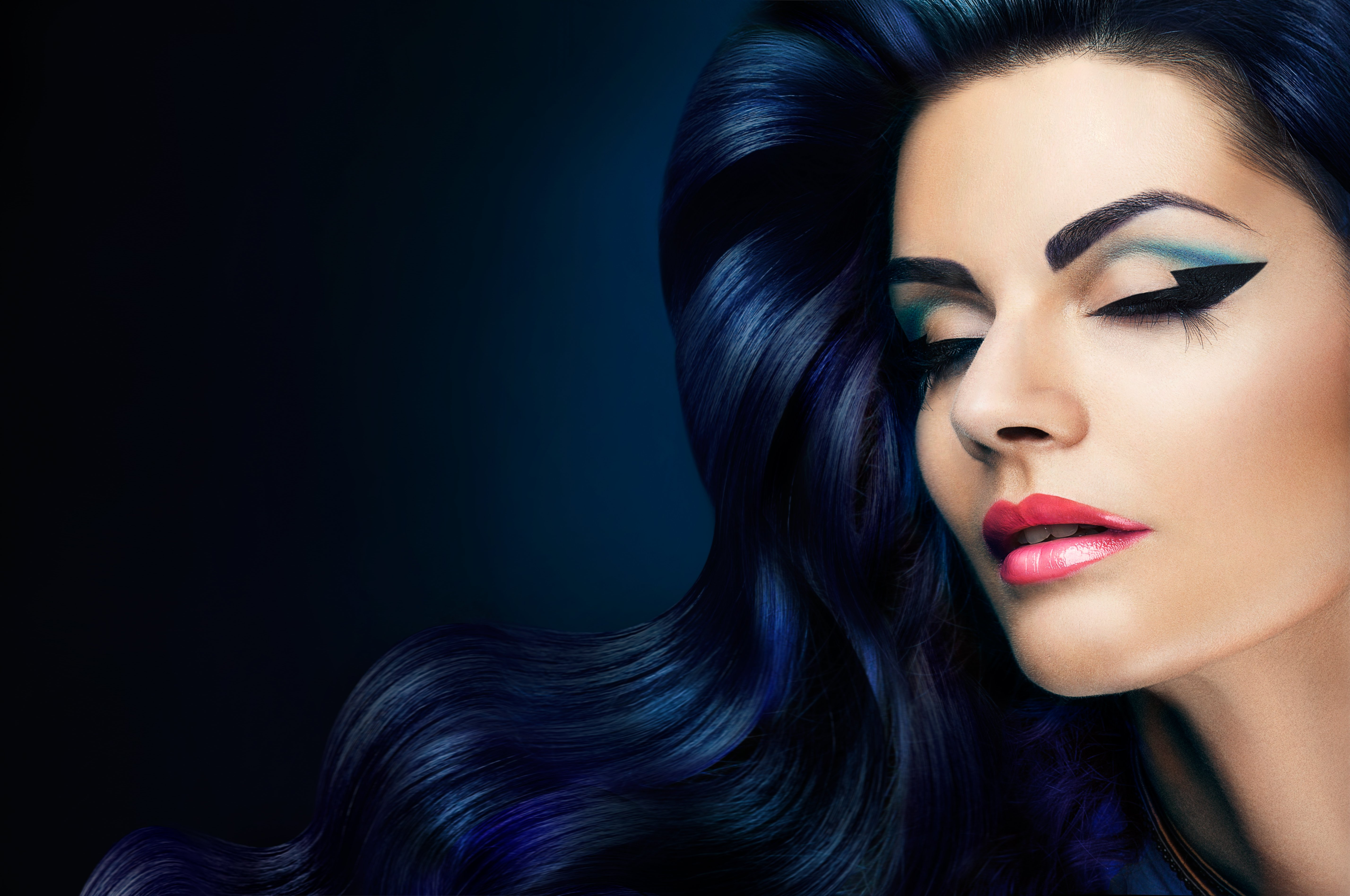 Girl Attractive Blue Black Make Up Lips Wallpaper