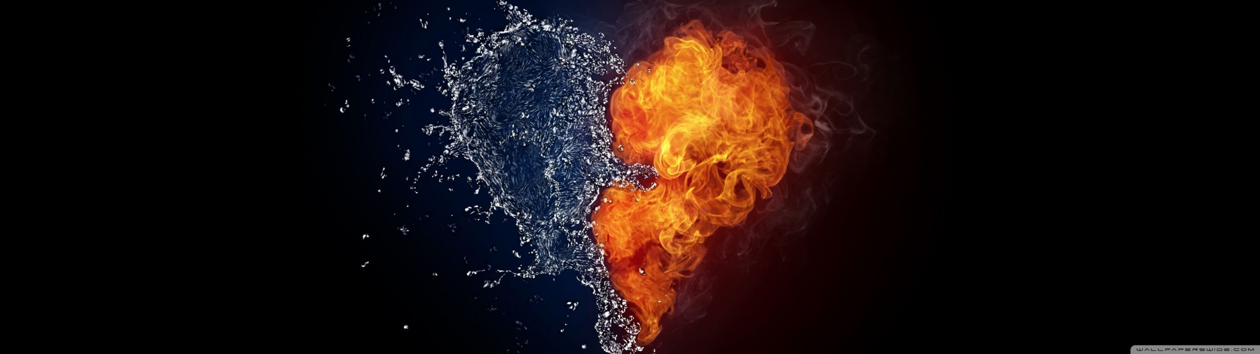 love amour coeur heart dual monitor screen multi multiple fire feu water eau wallpaper