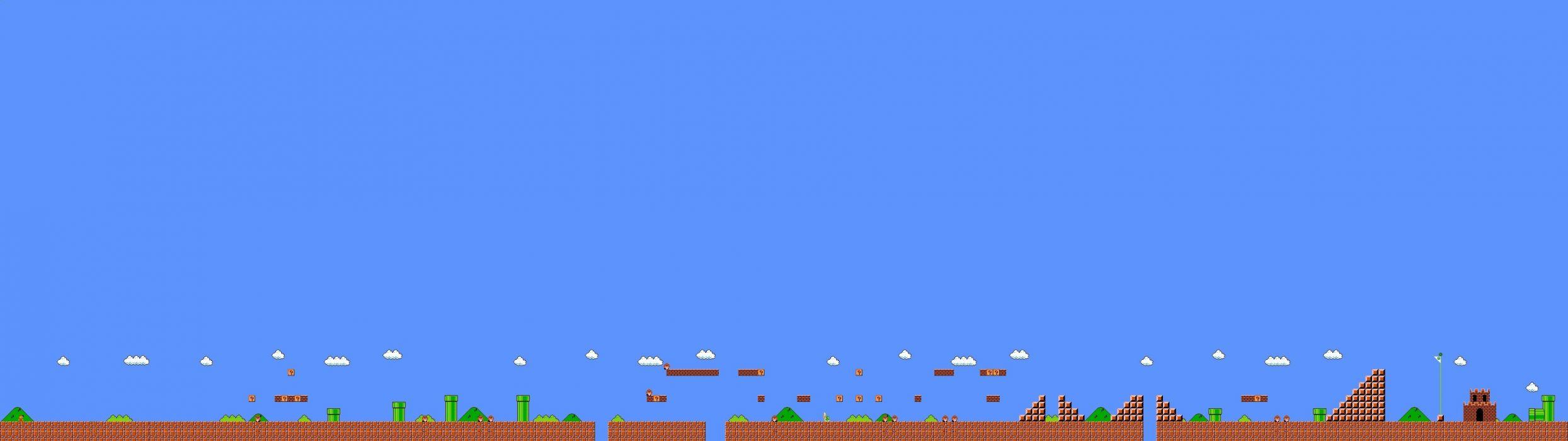 dual monitor screen multi multiple videogame game jeu video mario bross wallpaper
