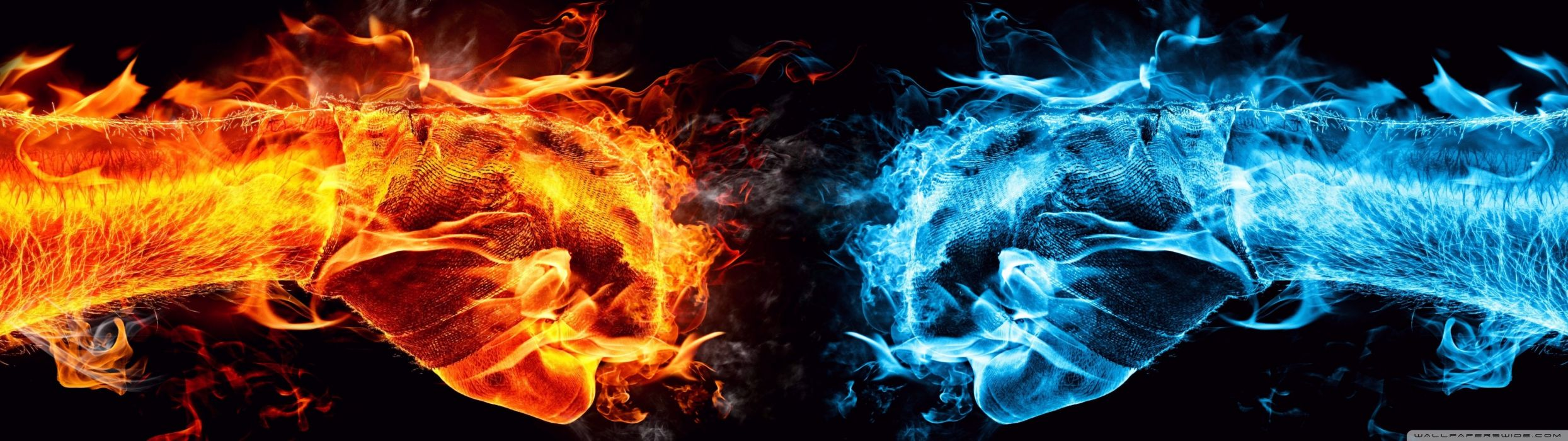 dual monitor screen multi multiple fire feu blue bleu orange flamme flame wallpaper