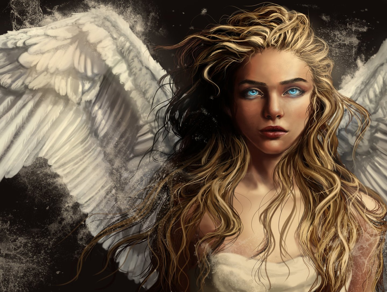 Angel girl wings blue eyes blonde long hair wallpaper - Angel girl wallpaper ...
