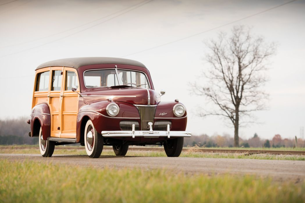 1941 Ford V-8 Super Deluxe StationWagon (11A-79B) woody retro wallpaper