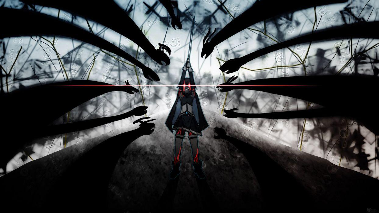 anime characte girl black wallpaper