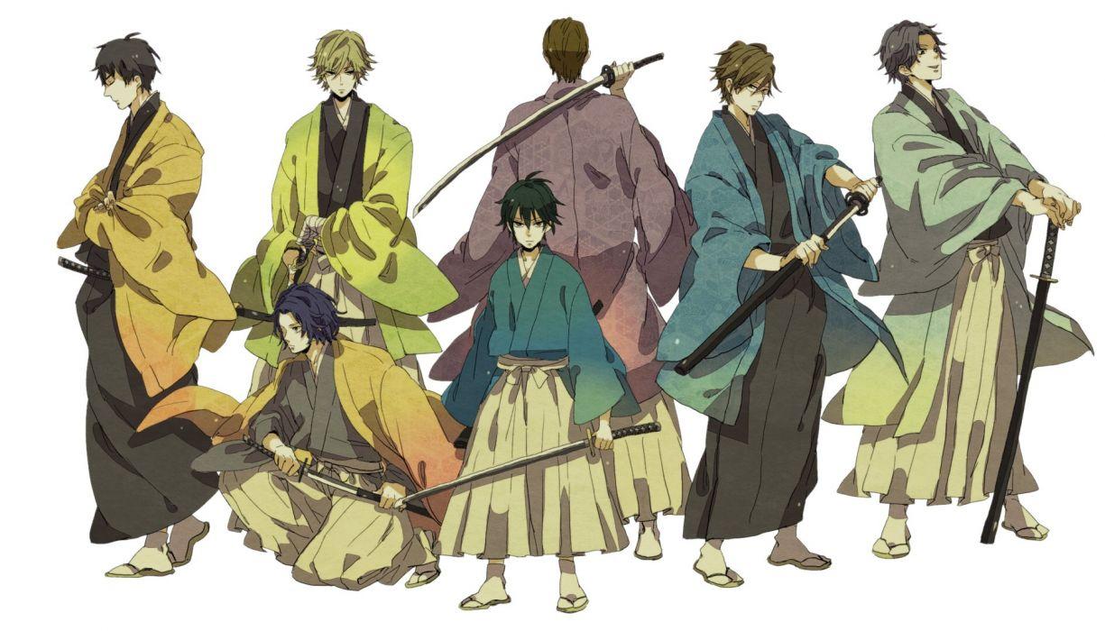 anime character team katana sword wallpaper