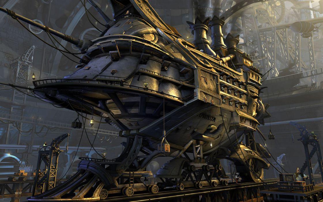 fantasy world iron train railway mechanics wallpaper