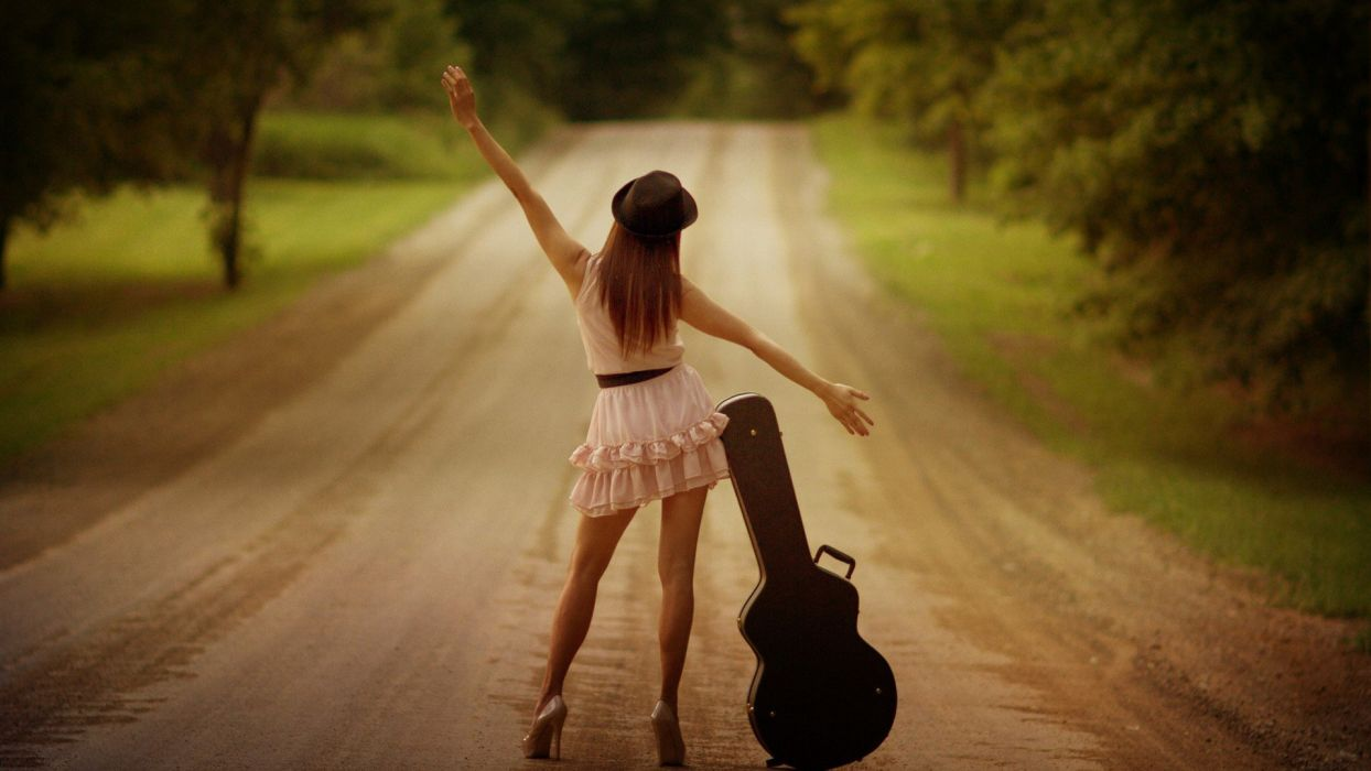 ALONE ON THE ROAD - girl guitar Legs wallpaper