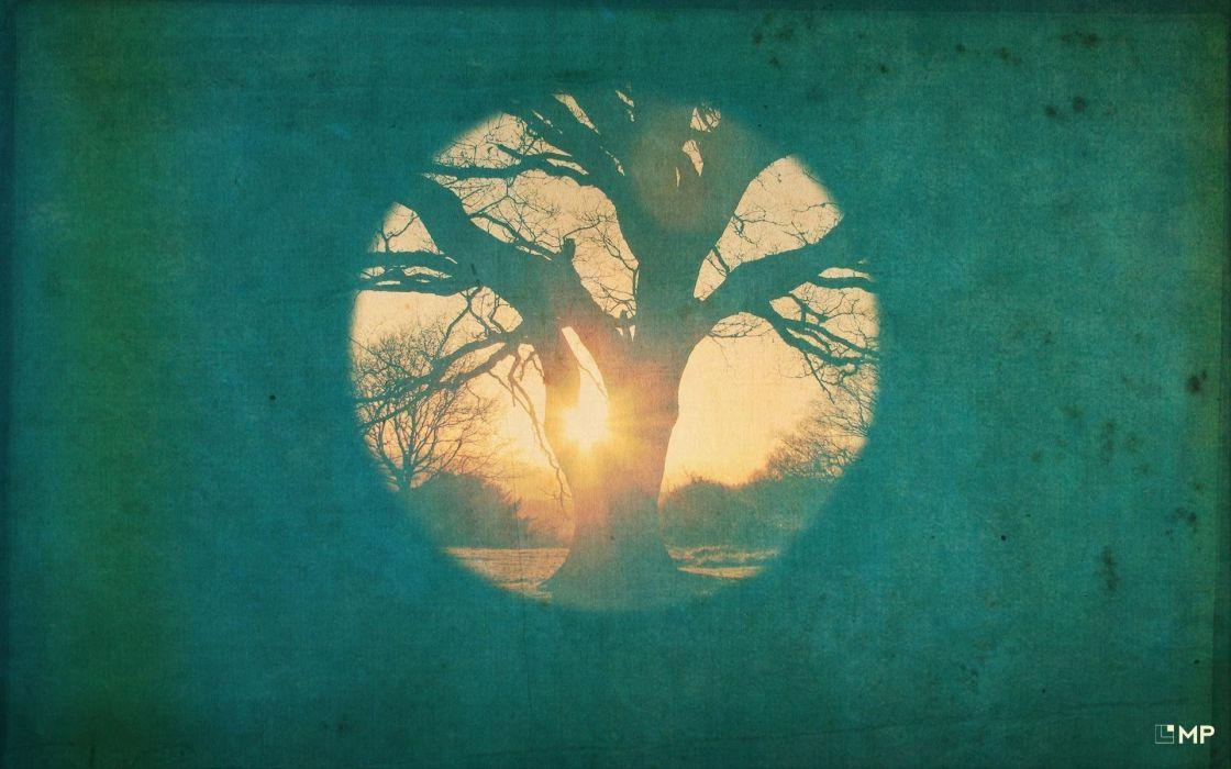 abstract art tree moon sun blue wallpaper