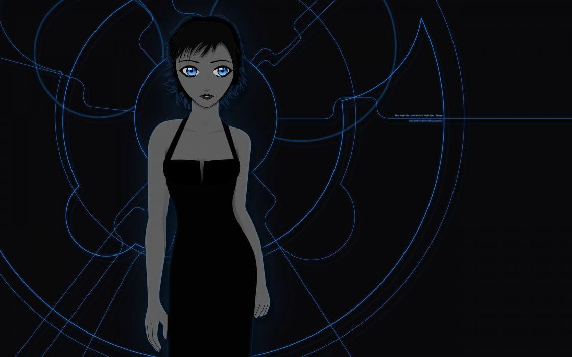 abstract art girl blue eyes dress black wallpaper