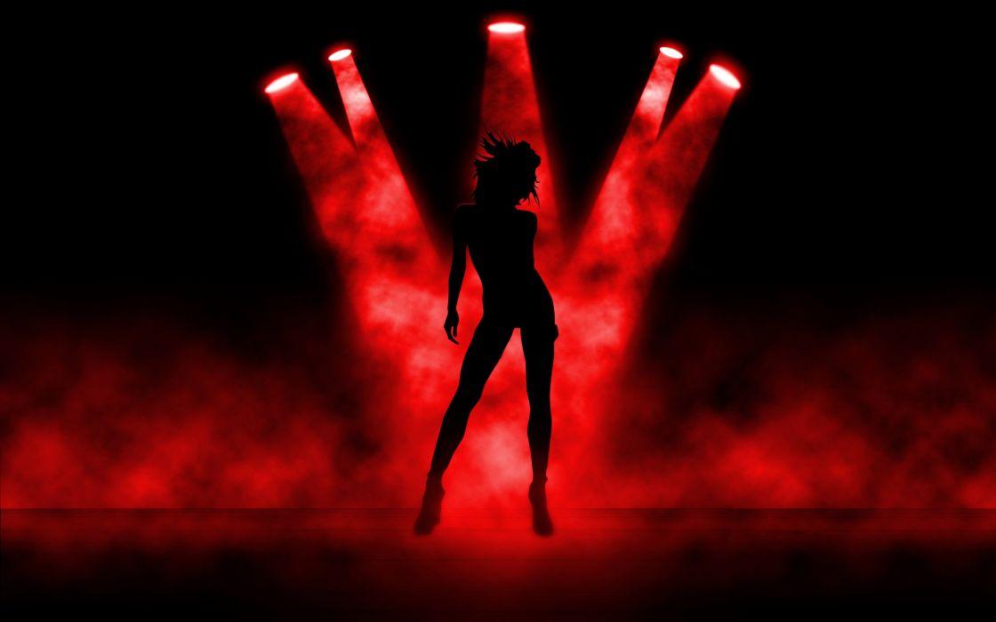 abstract art girl stripper light red wallpaper