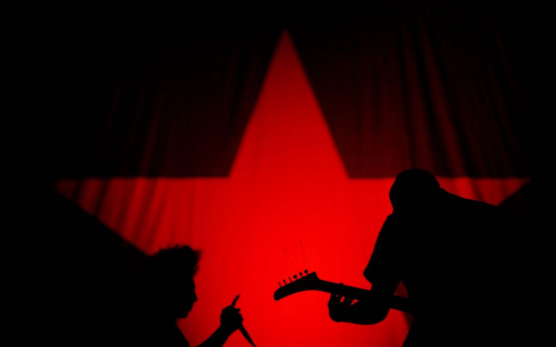 abstract art red star music wallpaper