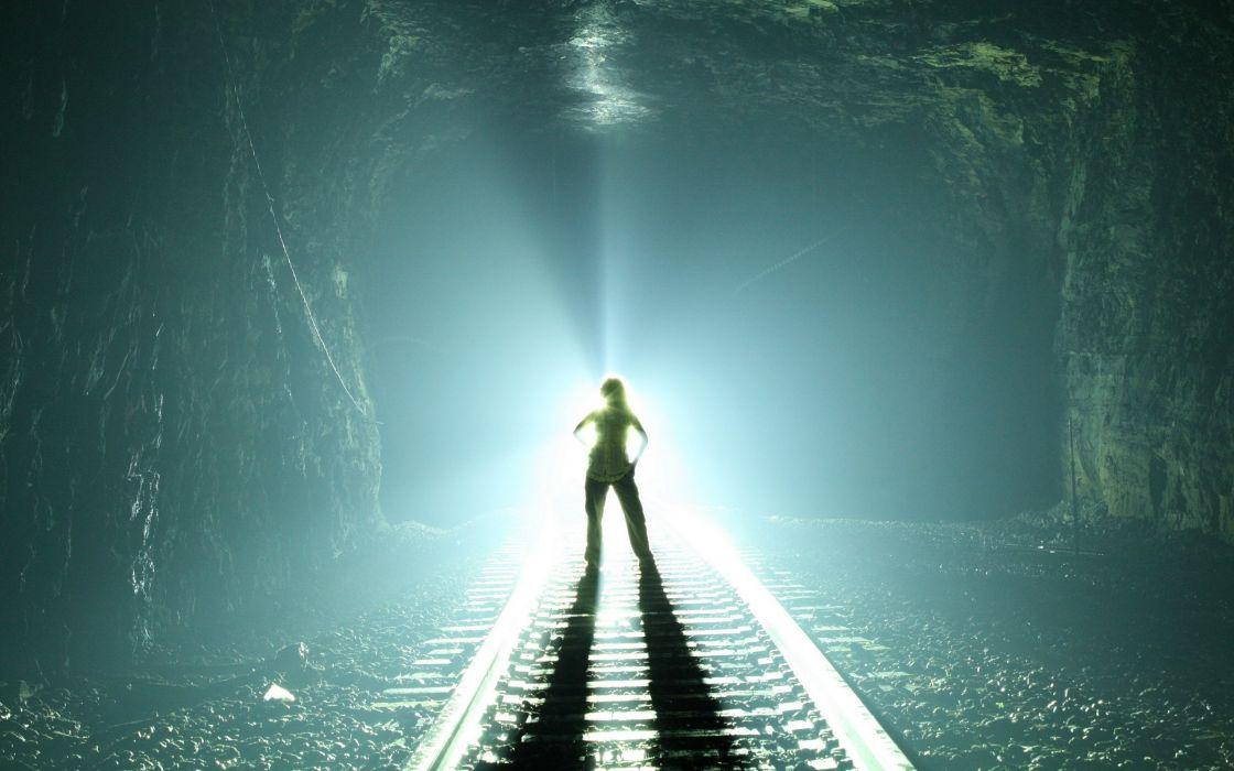 abstract art girl rails train light tunnel wallpaper