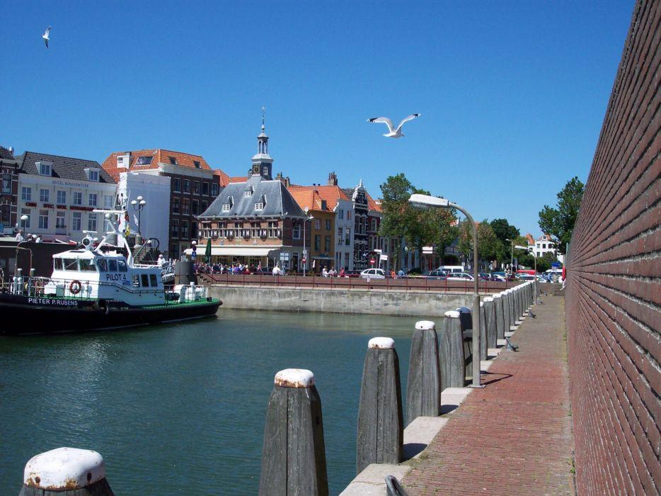 Vlissingen center town harbor pilot Flushing Holland Netherlands wallpaper