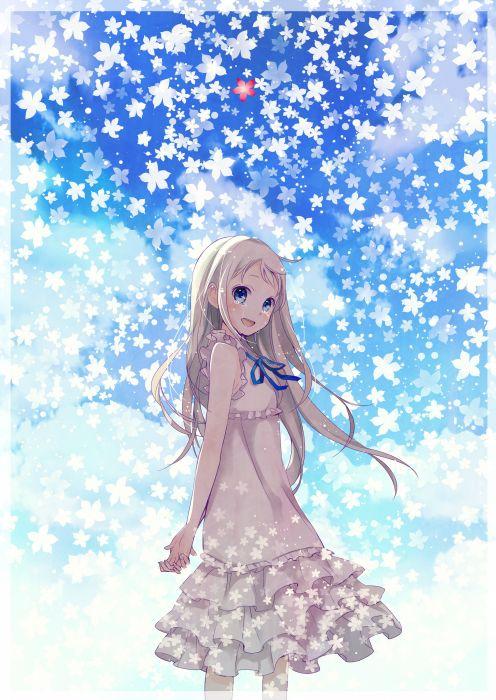 anime girl cry sky flower dress long hair blue eyes wallpaper