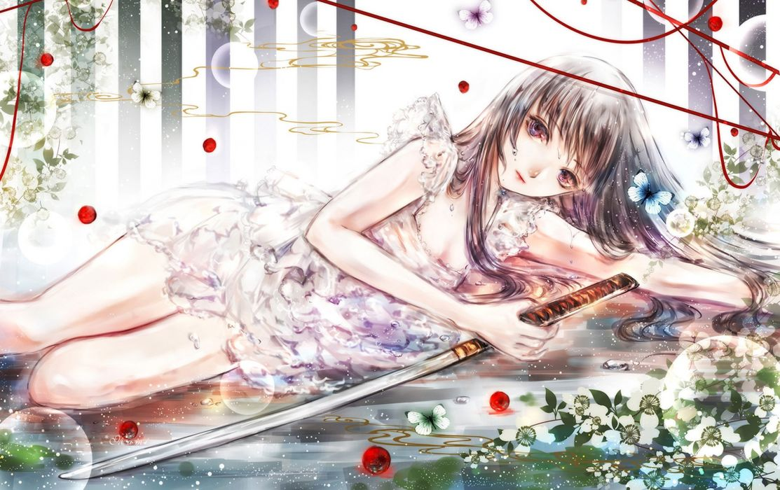 Art bow down Bubbles drops Girl sword Yuki*mami wallpaper