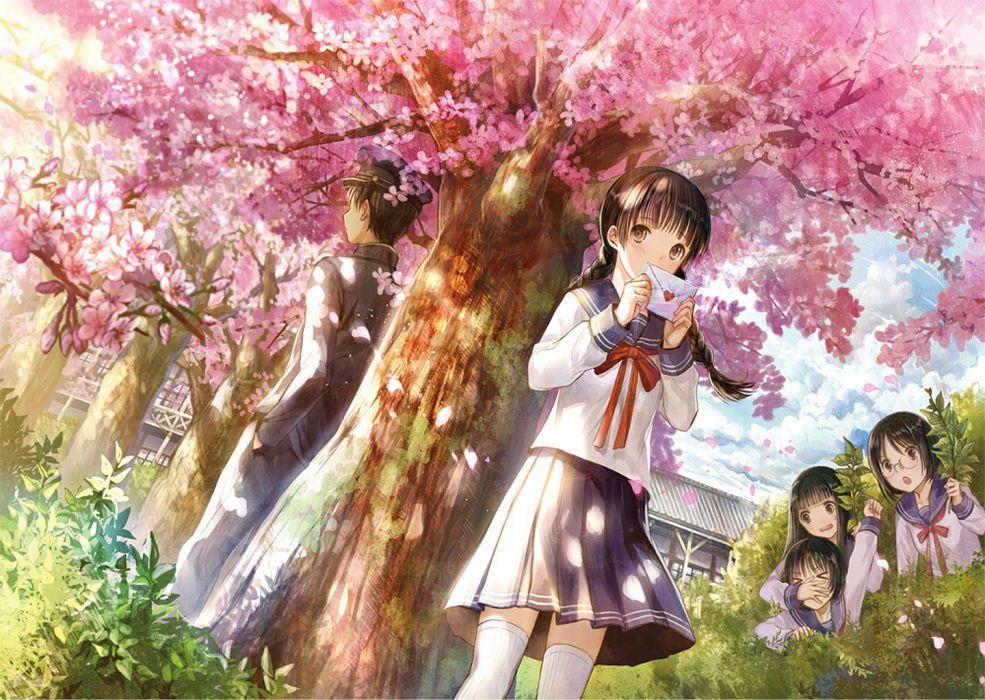 love letter school girl uniform tree sakura girls guy wallpaper