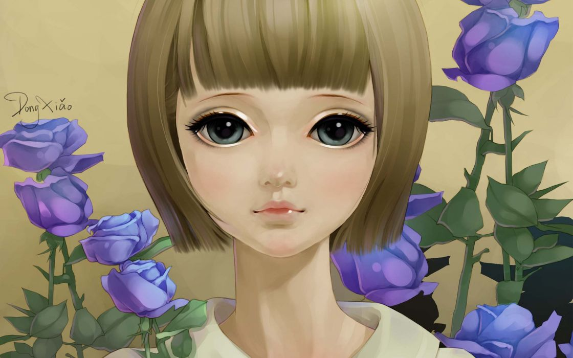 painting dong xiao portrait face art flowers roses girl wallpaper