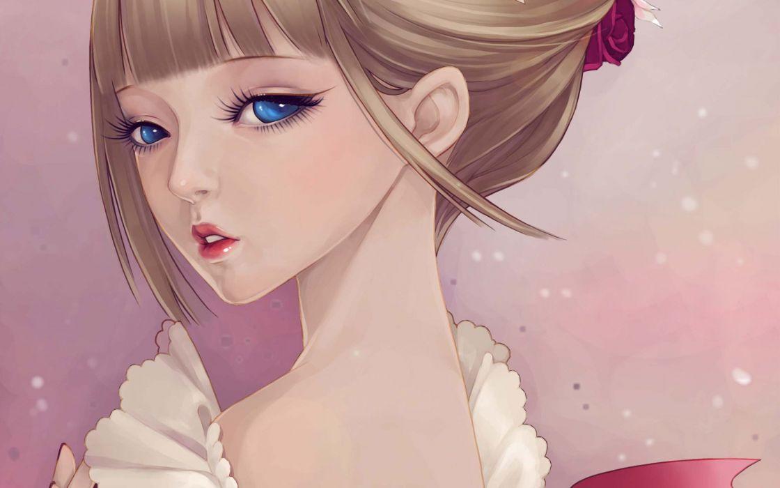 girl art dong xiao ruffles face tenderness wallpaper