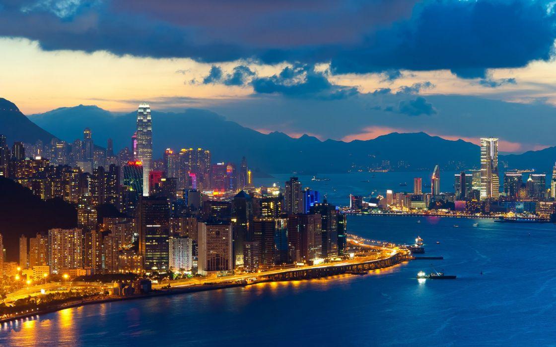 landscape evening twilight city hong kong building wallpaper