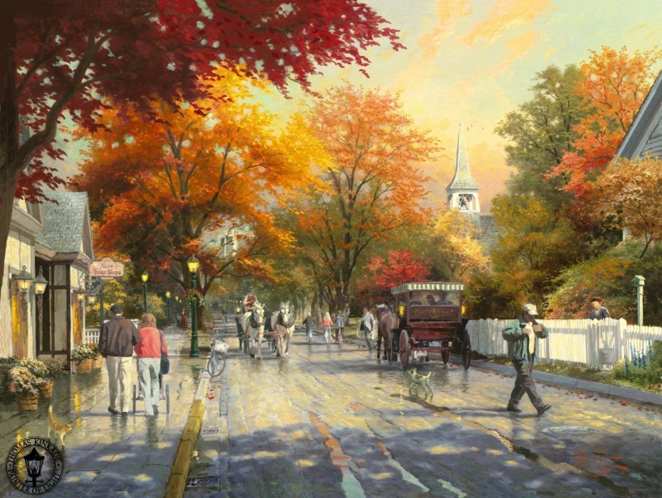 painting autumn on mackinac island thomas kinkade town wallpaper