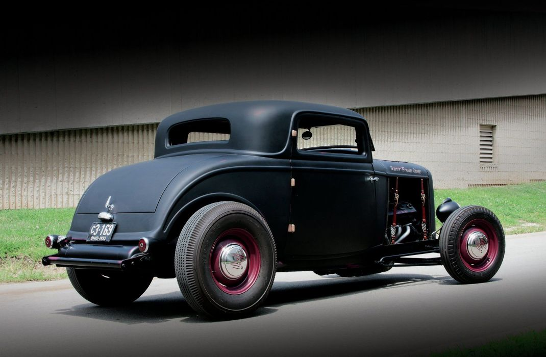 1932 car classic Ford hot rod USA black matt wallpaper