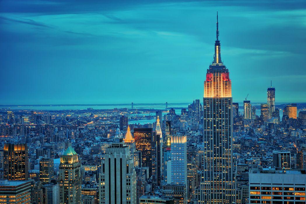 new york empire state bulding city night  wallpaper