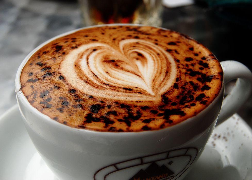 heart macro coffee cup cappuccino figure wallpaper