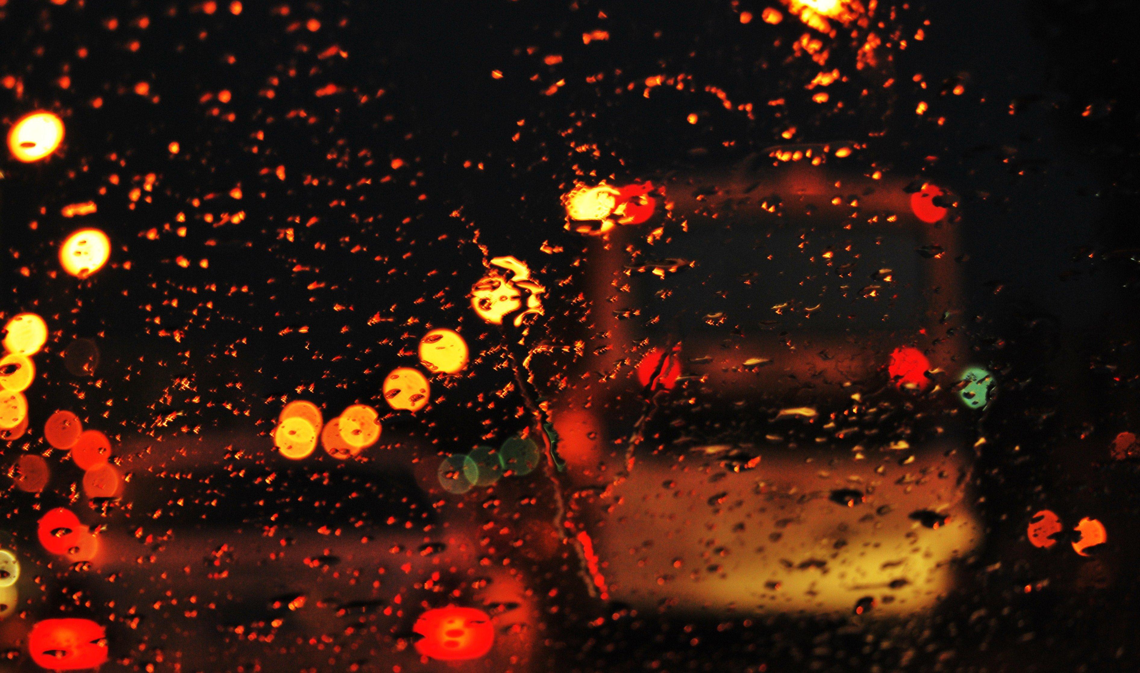 The Rain Glass Road Lights Street Evening Water City Wallpaper