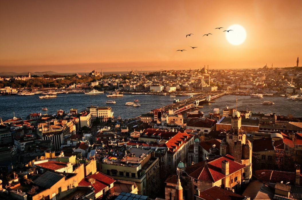 city scenery panorama evening sunset istanbul turkey wallpaper