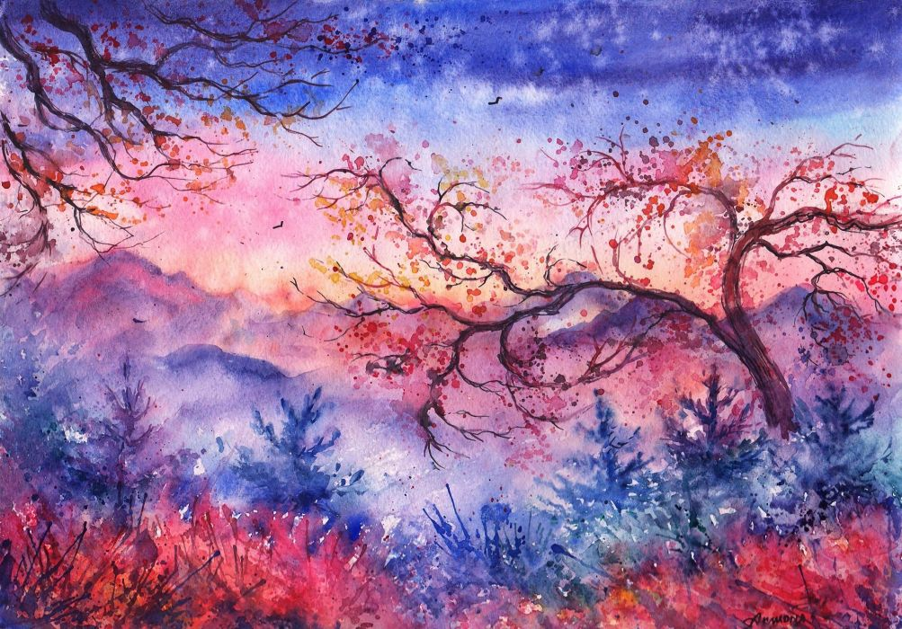 sunset Mountains trees Christmas trees birds foliage watercolor evening painted landscape wallpaper