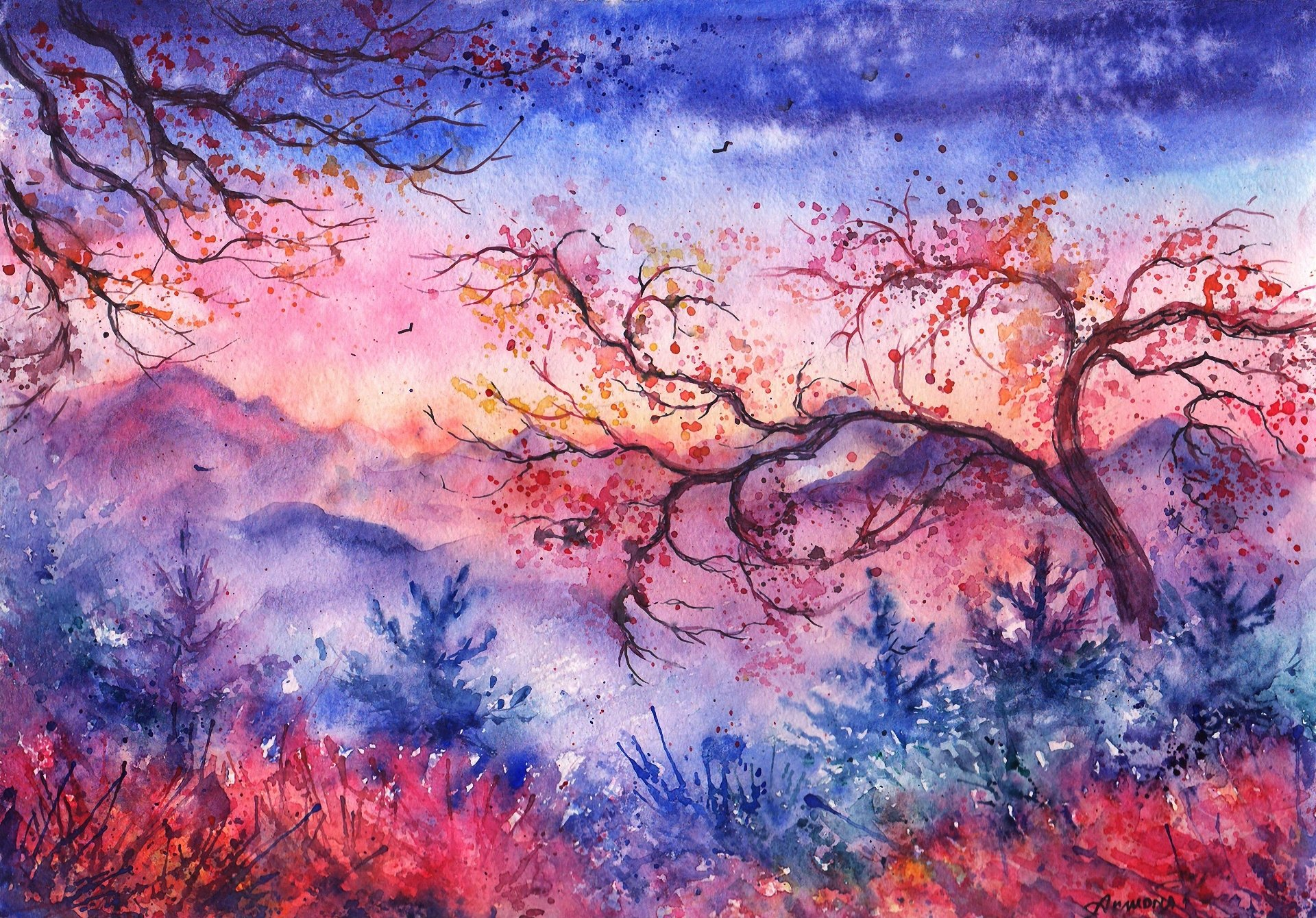 Paintings of Sunsets Mountains Sunset Mountains Trees