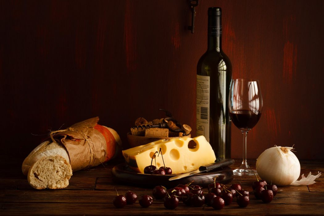 BERRY Cherry red bottle stemware wine cheese bread Cherry wallpaper