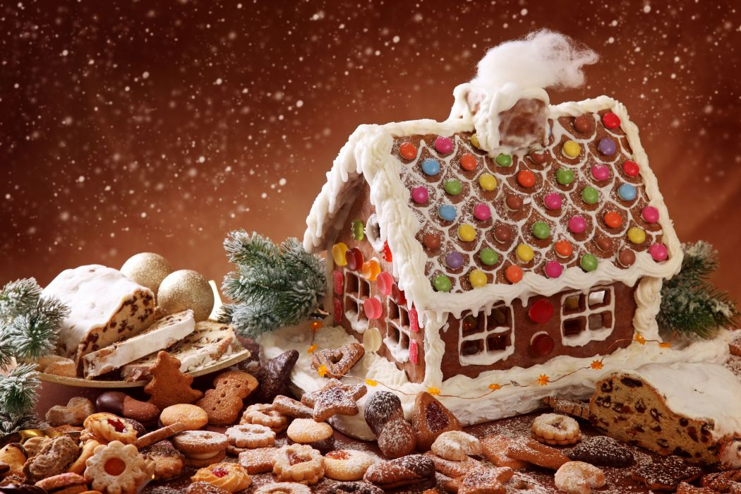 Winter Christmas Sweets country lodge cookies baking gingerbread sponge cake snowfall powder holiday magic wallpaper
